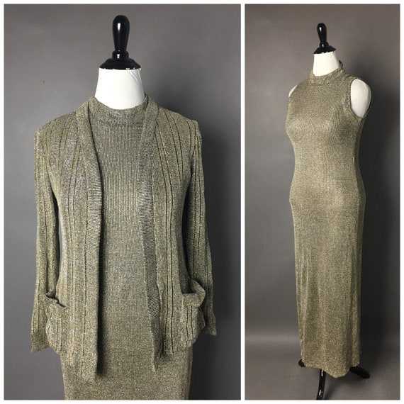 Vintage 70s dress / 1970s dress / metallic lurex d