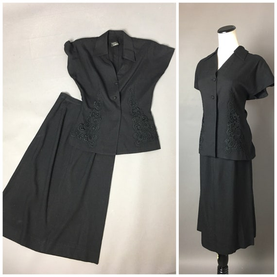 Vintage 40s skirt suit / 1940s suit / skirt and su