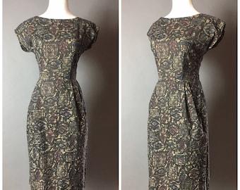 Vintage 50s dress / 1950s dress / wiggle dress /  cotton dress / day dress / 8120
