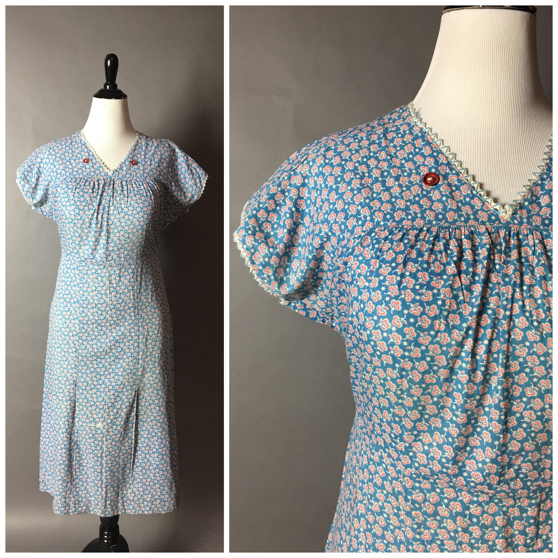 robe vintage des ann es 30 ann es 1930 robe floral robe. Black Bedroom Furniture Sets. Home Design Ideas