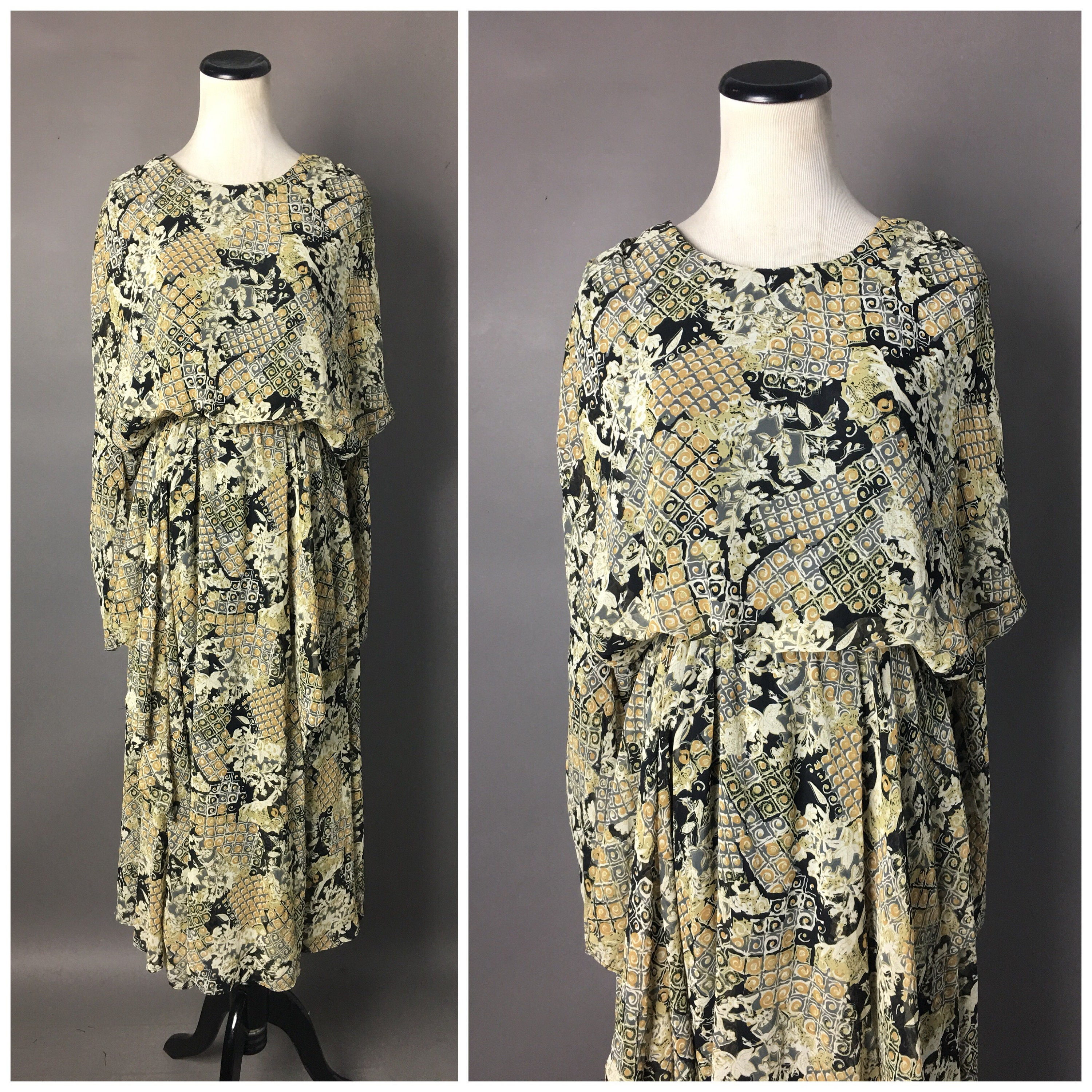 80s Dresses   Casual to Party Dresses Vintage 80S Does 20S Dress1980S Style Patchwork Cocktail Party Formal 3904 $22.00 AT vintagedancer.com