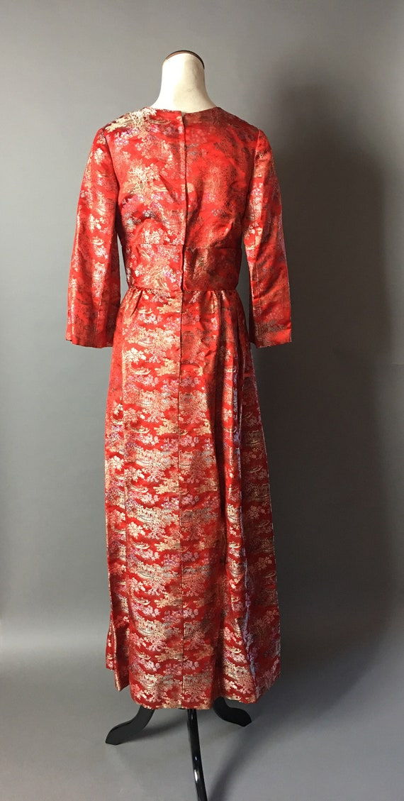 dress dress brocade dress satin 1960s dress party dress print 8382 cocktail Vintage 60s dress asian maxi dress novelty scenic q5Fa5tv