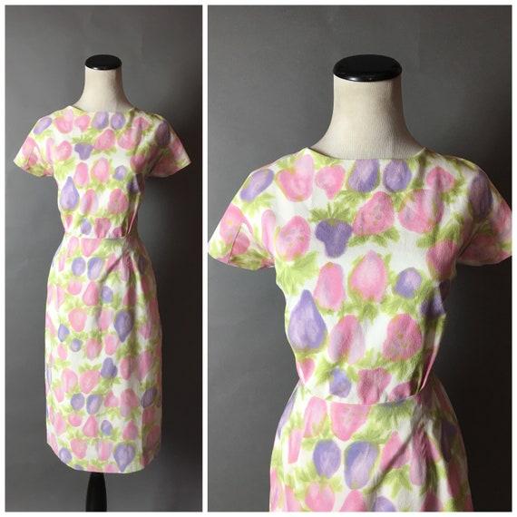 Vintage 50s dress / 1950s dress / novelty print dr