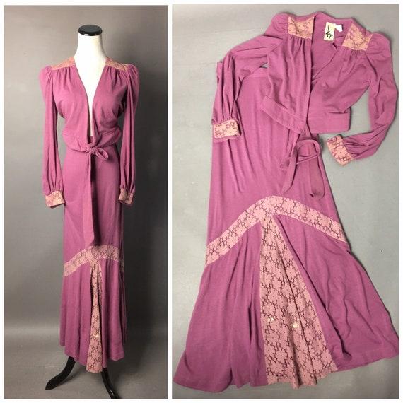Vintage 70s skirt top set / 1970s maxi skirt / flo