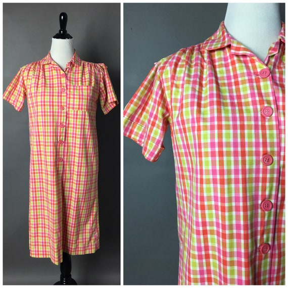 Vintage 60s dress / 1960s dress / plaid dress / st