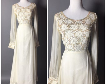VIntage 60s dress / 1960s dress / chiffon dress / cocktail dress / hostess dress / party dress / M5173