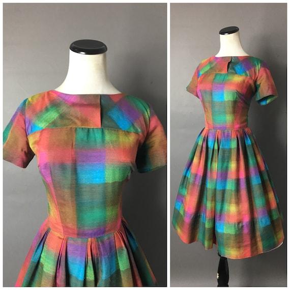 Vintage 50s dress / 1950s dress / rainbow dress /