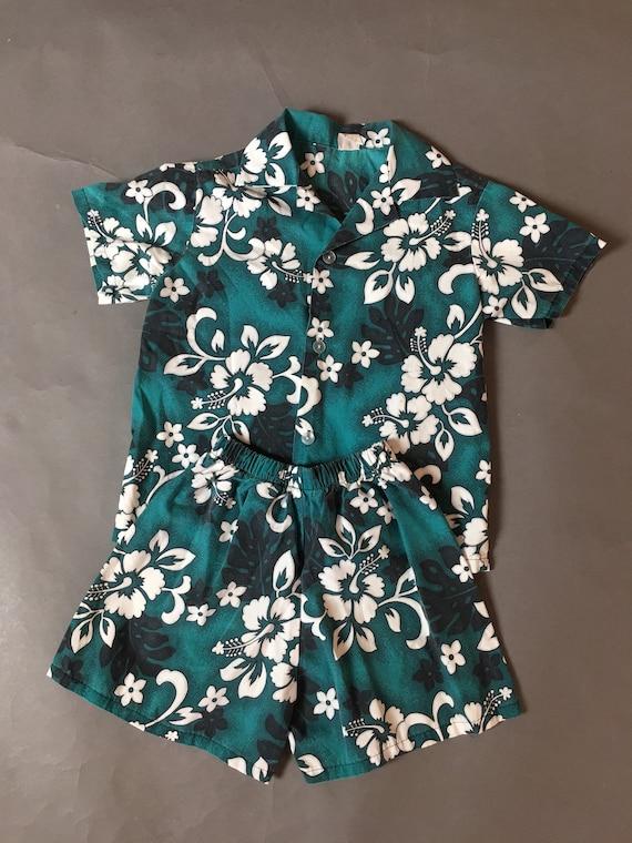 Vintage KIDS Hawaiian set / shirt swim shorts / vi