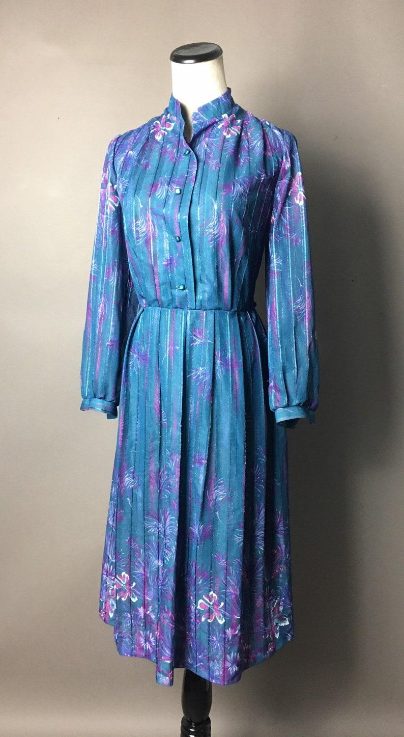 Vintage 80s dress  1980s dress  blue purple dress  floral dress  cocktail dress  party dress  secretary dress  day dress  4668