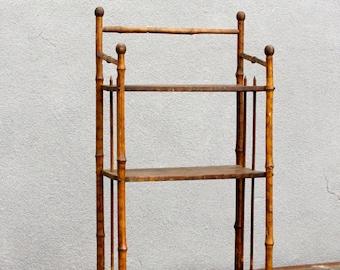 Petite Bamboo Chinoiserie Etagere Vintage Bookcase Indian Bookshelf Small BookcaseBohemian Etagerebamboo Shelf