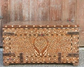 Antique Iron-Strapped Bone Inlay Trunk,Bone Inlay Box,Antique Indian Inlaid Trunk,Anglo Indian Bone Inlay Chest,Vintage Dowry Box,inlayChest