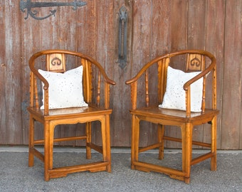 Pair Of Asian Horseshoe Armchairs, Asian Antique Chairs, Antique Chinese  Chairs, Qing Dynasty, Traditional Chinese Chairs,Elm Chair,Armchair