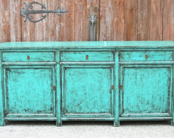 Appealing Asian Teal Credenza, Asian Cabinet, Chinese Cabinet, Media Cabinet,Painted  Sideboard, Painted Console, Antique Sideboard, Credenza