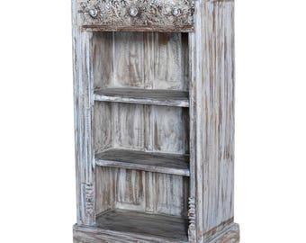 Whitewash Carved Bookcase Vintage Indian Bookshelf Rustic Bookshelfcarved Shelf White Washed