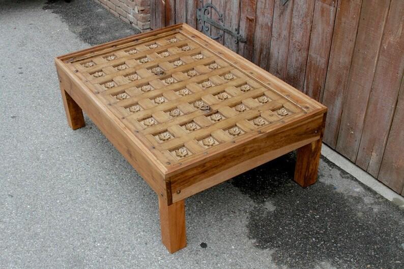 Morgane Lotus Plafond Panneau Table Basse Table Basse Table Teck Cofee Table A Cafe Rustique Indien Table Basse Bois Lotus Sculpte A La Table