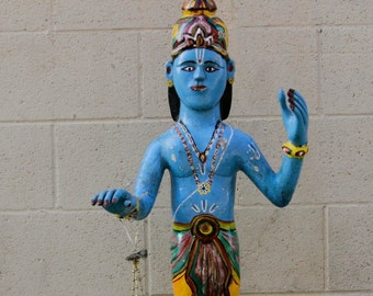 19th Century Polychrome Krishna Statue, Indian Statue, Polychrome Statue, Decorative Statue, Indian Statue, Krishna statue