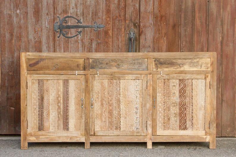 Rustic Carved Front Moorish Sideboard, Teak Dining Room Hutch