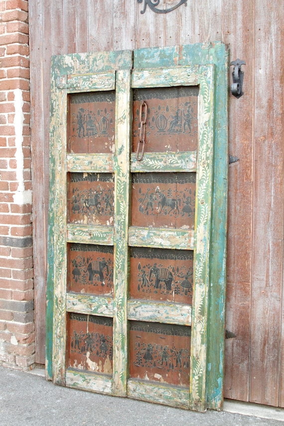 image 0 - Orissa Tribal Painted Door Painted Doors Indian Door Tribal Etsy