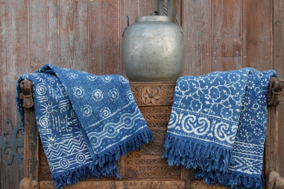 Astounding Indigo Batik Throw Cotton Throw Blanket Cotton Throw Throw Blanket Throw Woven Throw Decorative Throw Bohemian Throw Batik Block Print Onthecornerstone Fun Painted Chair Ideas Images Onthecornerstoneorg