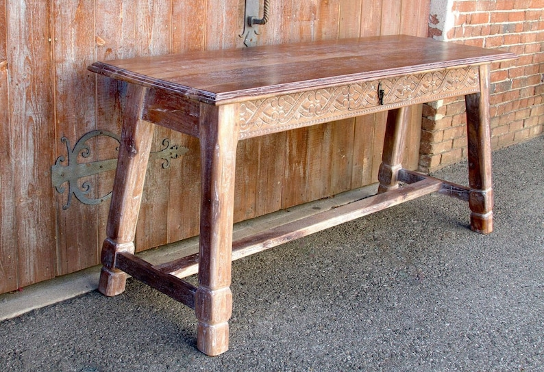 Liming White Carved Tavern Table, Painted Console, Console  Table,Reconstructed Console,Indian Console Table,Rustic Table,Carved Console