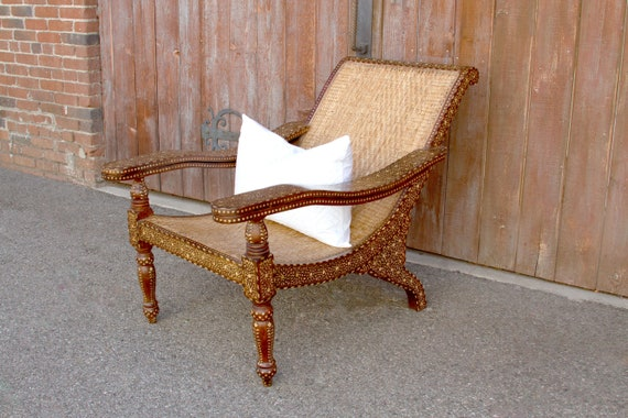 image 0 - Bone Inlay Lounge Rosewood Chair Lounge Chair Antique Bone Etsy