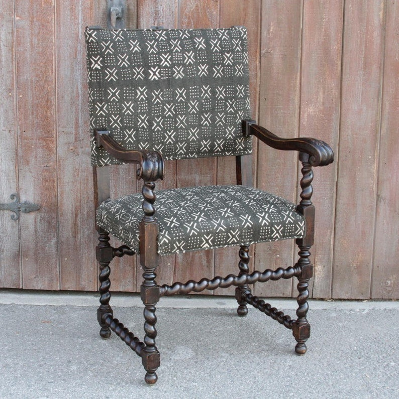 Antique Charcoal Mud Cloth Upholstered Armchair Antique Etsy