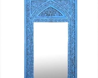 Grandiose Aged White Carved Floor Mirror Indian White Mirror