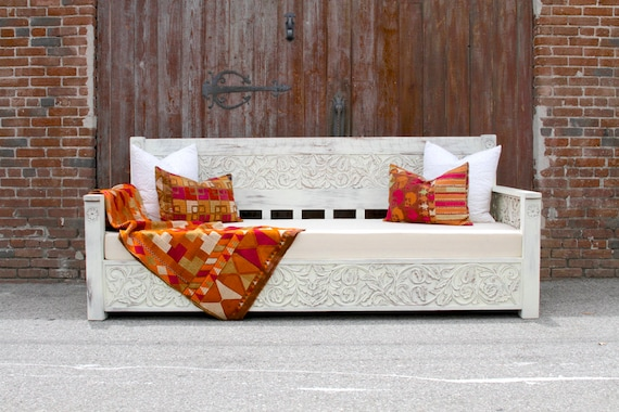 Admirable White Painted Floral Carved Daybed Indian Daybed Outdoor Daybed Teak Carved Daybed Hand Carved Daybed Carved Bench Carved Bed Cjindustries Chair Design For Home Cjindustriesco