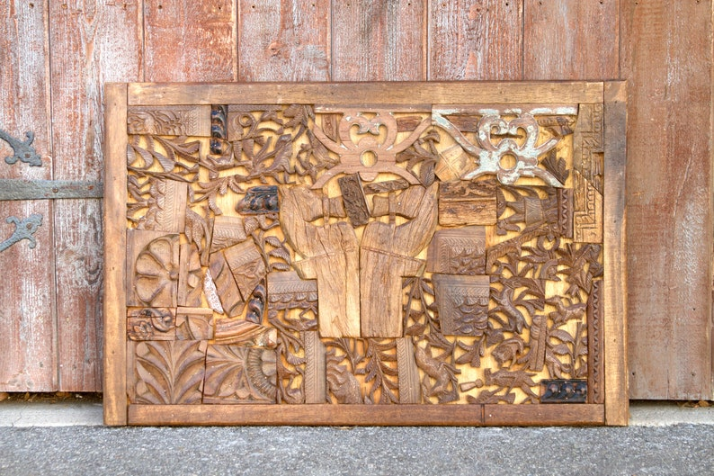 Carved Wood Block Wall Art Wooden Carved Panel Abstract Art Wall Art Wall Decor Rustic Wall Art Hand Carved Art Carved Block Art Art