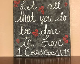 1 Corithians Bible Verse Painted Canvas, Biblical Canvas, Love Quote Canvas Wall Hanging, Bible Verse Canvas, Quote Canvas