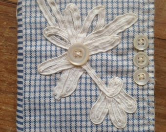 Boro Inspired Handmade Needle Case from Vintage Fabrics, Vintage Blue Needle Book, Antique Lace Applique, Victorian Buttons,