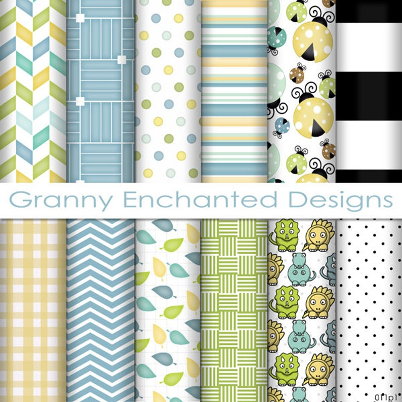 Lady Bug Paper Pack: 12 Digital Papers in Blue Green image 0