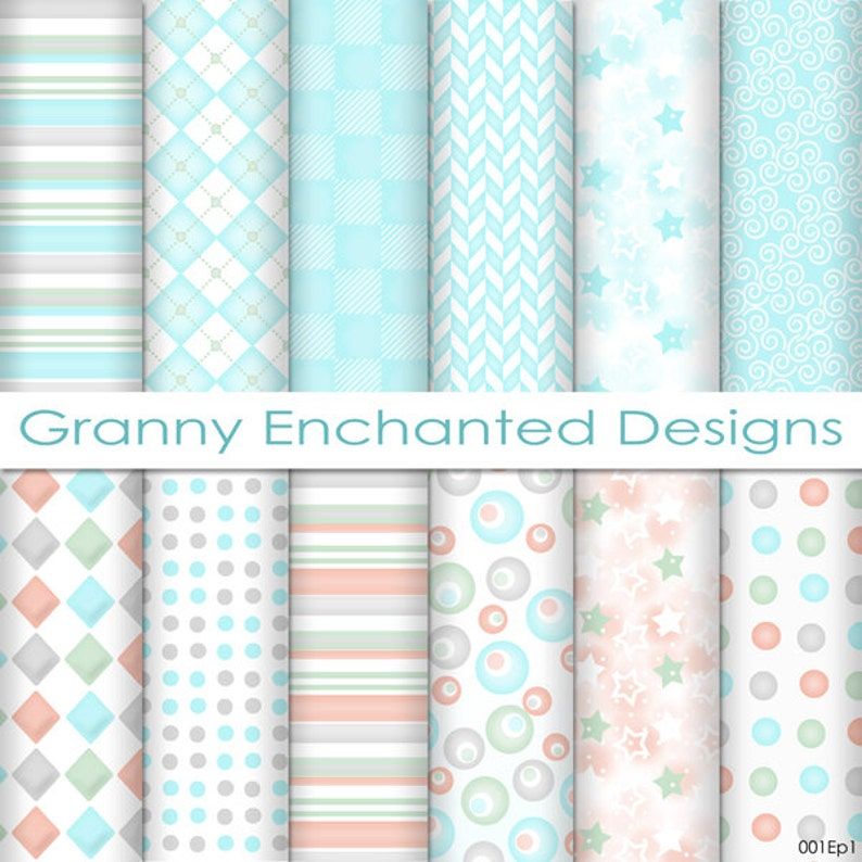 12 Digital Papers  Teal Gray Pink and Green soft Patterns image 0