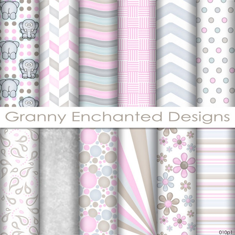 Ellie Paper Pack: 12 Digital Papers in Gray Pink and Brown image 0