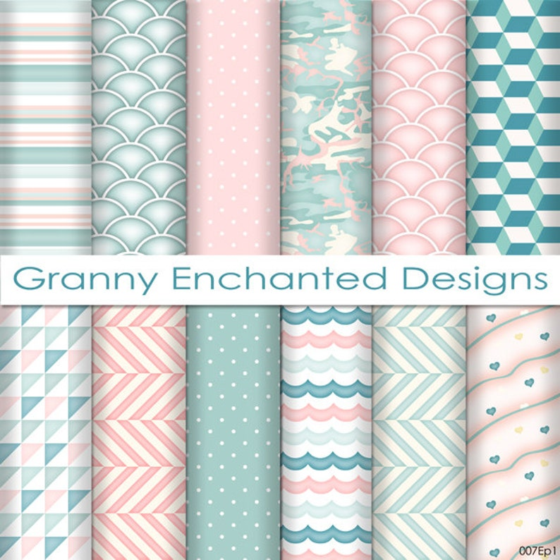 Soft Beach: 12 Digital Papers in Teal Blue White and Blush image 0