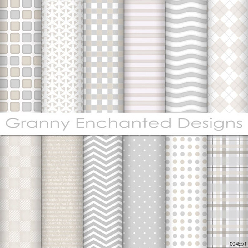 12 Digital Papers  in White Gray and Taupe Patterns for image 0