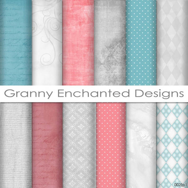 12 Digital Papers  Teal Gray and Pink/Red in soft Patterns image 0