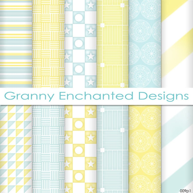 Summer Morn: 12 Digital Papers in Teal Blue and Yellow image 0