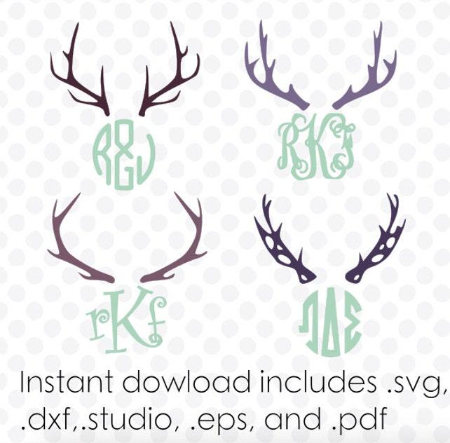 Antler svg deer monogram frame instant download zipped .eps   Etsy