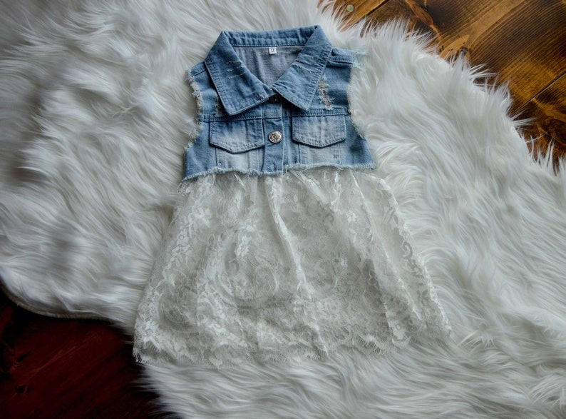 0bb59b59a5c9 Baby Girls Jean Vest Baby Girl Little girls Jean dress