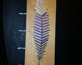 Feather string art key/jewelry hook