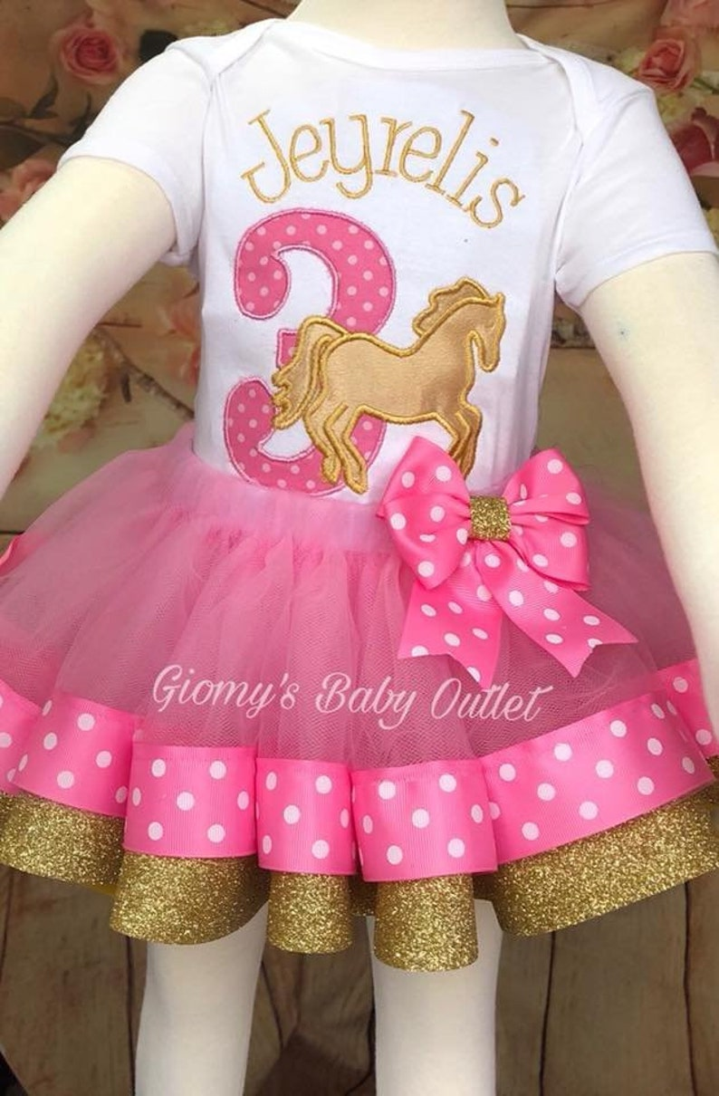 Carousel embroidery baby set Horse tutu set