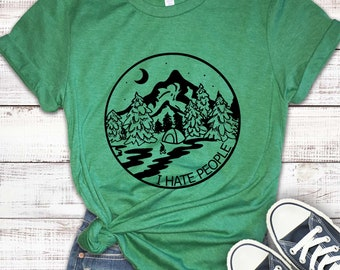 Lucky Star Mens I Hate People Camping Perfect Tshirts