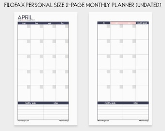 Filofax PERSONAL Monthly Planner Printable Inserts Refills (also fits kikki.K Time Planner MEDIUM) - Undated (Audrey Collection)