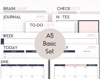 Two A5 Daily Planners Printable Inserts Refills also fits
