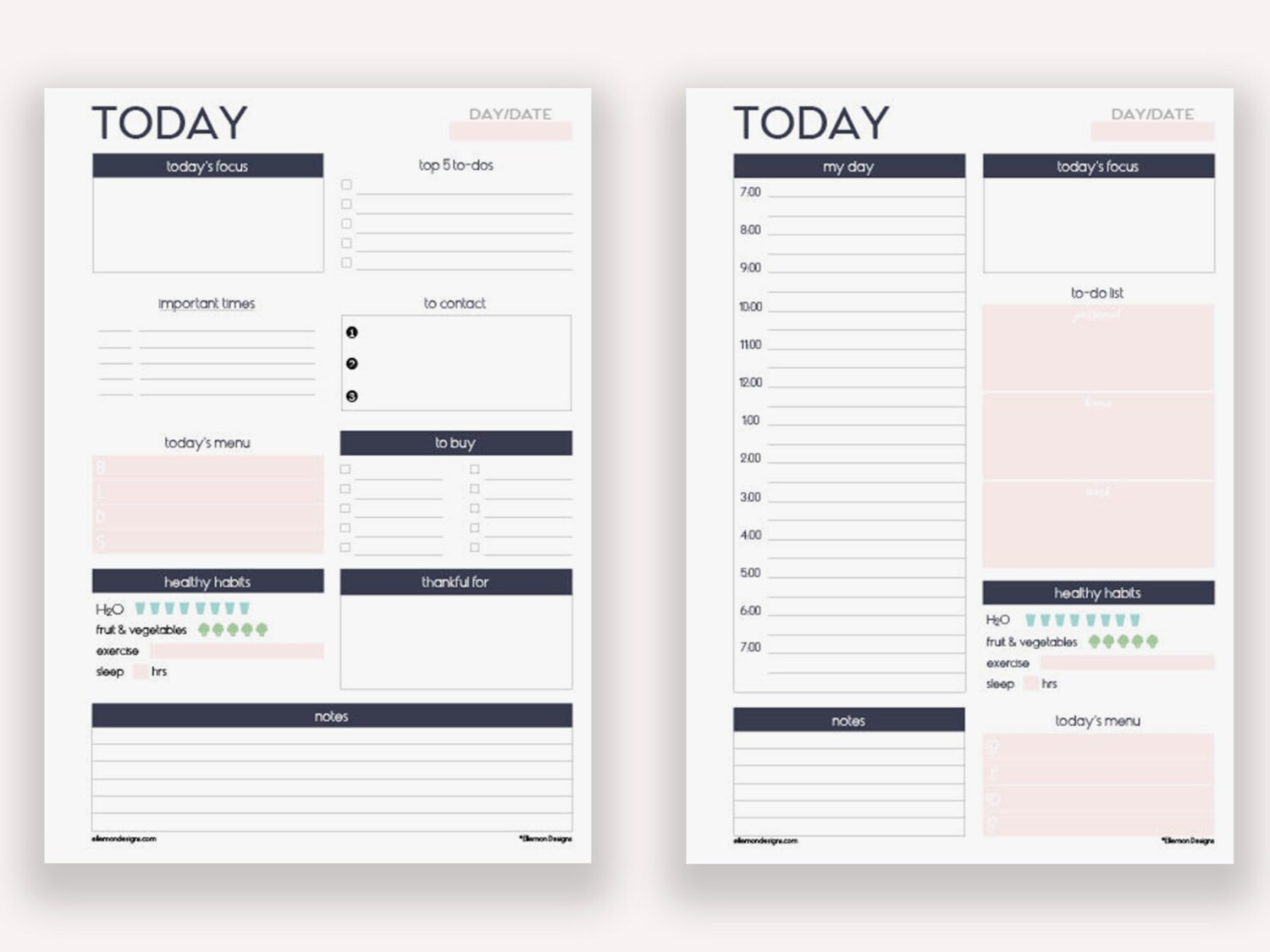 two a5 daily planners printable inserts refills also fits etsy