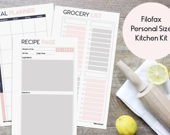 Filofax PERSONAL Kitchen Kit Printable Inserts Refills - also fits kikki.K Time Planner MEDIUM - (Audrey Collection)