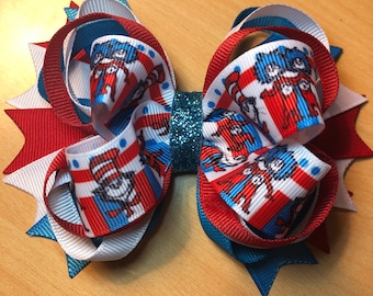 Dr. Seuss -Cat In Hat Inspired Hair Bow