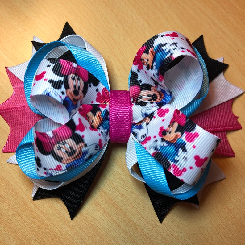 Pink and Blue Mouse Hair Bow