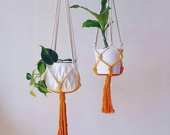 Macrame Plant Hanger, Dip Dyed Hanging Planter, Tangerine Orange